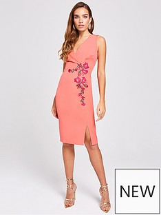 7ce329b1308094 Little Mistress Embroidered Wrap Fitted Bodycon Dress - Grapefruit