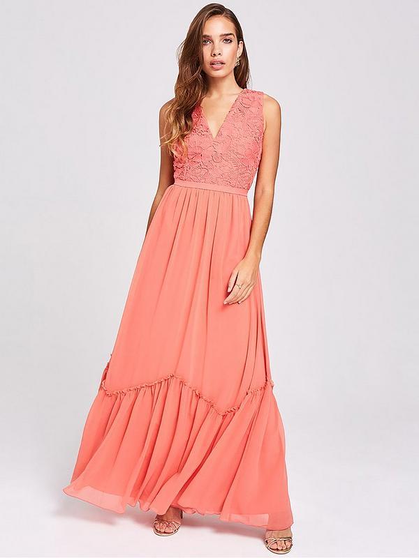 Lace Top Chiffon Maxi Dress Pink