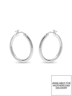 the-love-silver-collection-sterling-silver-diamond-cut-20mm-creole-hoop-earrings