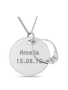 the-love-silver-collection-personalised-sterling-silver-disc-with-engagement-ring-charm-pendant-necklace