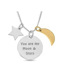the-love-silver-collection-personalised-sterling-silver-disc-moon-stars-charm-pendant-necklace