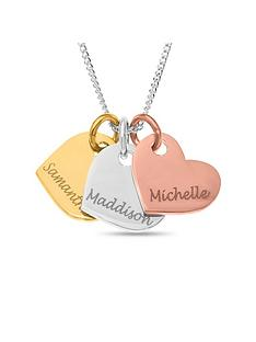 the-love-silver-collection-personalised-gold-plated-sterling-silver-tri-colour-hearts-pendant-necklace