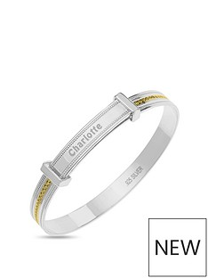 the-love-silver-collection-personalised-sterling-silver-childrens-expander-bangle-with-gold-plated-millgrain-detail