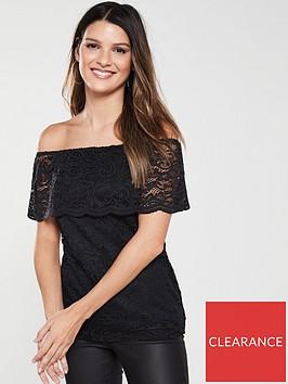 v-by-very-lace-bardot-top-black