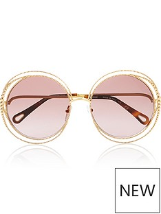 chloe-round-wire-trimmed-sunglassesnbsp-nbspgoldlight-brown