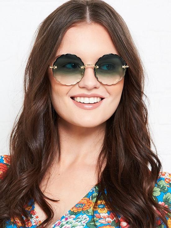 555b54f7e1fc1 Chloe Rosie Petite Flower Round Sunglasses - Blue