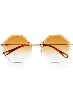 chloe-rimless-hexagon-sunglasses-gold