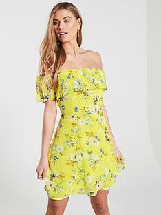 24db466939b Oasis Daisy Haze Bardot Skater Dress - Yellow