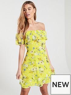 aabdc29c08 Oasis Daisy Haze Bardot Skater Dress - Yellow