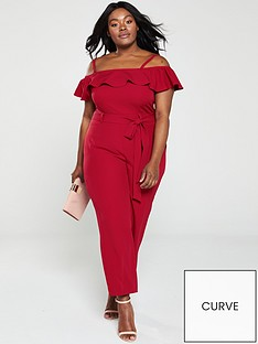 b87257da6dd V by Very Curve Cold Shoulder Ruffle Jumpsuit - Red