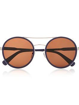 longchamp-round-double-bridge-sunglasses-navysilver