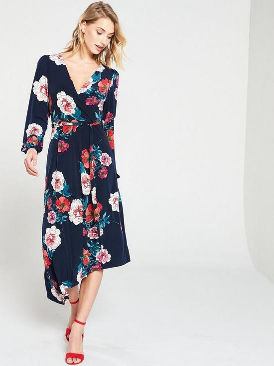b84989aefdcf Oasis Floral Balloon Sleeve Asymmetric Hem Jersey Dress - Blue ...