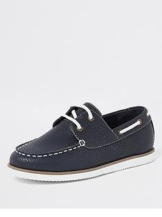 river-island-boys-textured-lace-up-boat-shoes-navy