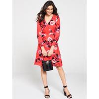 77d66b08f1ba Oasis Botanical Scarf V-Neck Skater Dress (Longer Length) - Red | very.co.uk