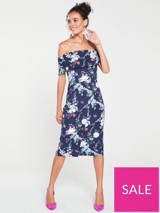 3641772efb37 Oasis Bloom Print Bardot Pencil Dress - Blue | very.co.uk