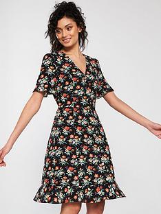 06b4da1e73ce Oasis Petunia Button Skater Dress - Black