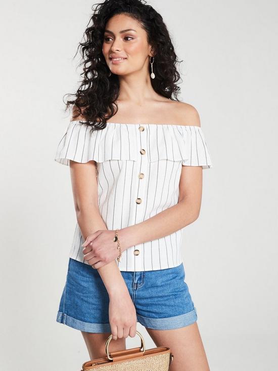 8db0a00f6ed Oasis Linen Look Stripe Button Through Bardot Top - Natural | very.co.uk