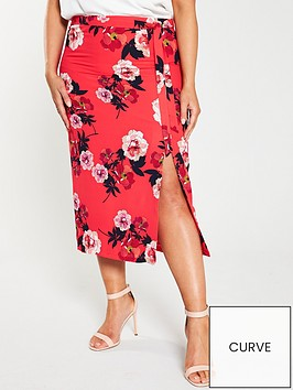 oasis-curve-scarf-floral-column-midi-skirt-red