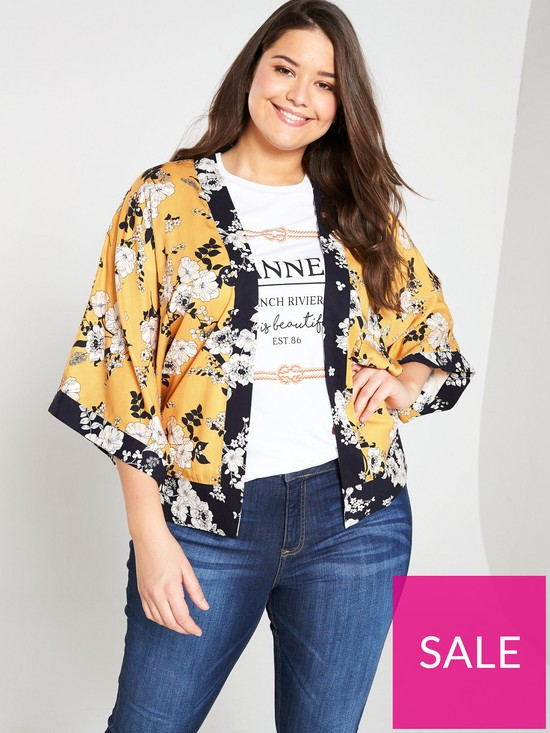 8e186ec24bc1 Oasis Curve Scarf Print Kimono - Yellow | very.co.uk