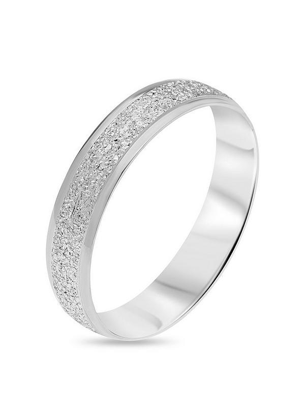Love Gold 9ct White Gold Diamond Cut Sparkle 4mm D Shape Wedding