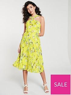 oasis-daisy-haze-twist-neck-pleated-midi-dress-yellow