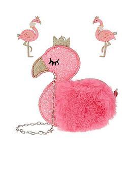 monsoon-fluro-fun-flamingo-bag-and-hair-set