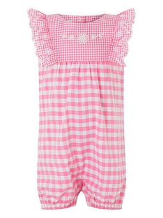 58e315fce60 Monsoon Newborn Baby Girls Gracie Gingham Romper Suit - Pink