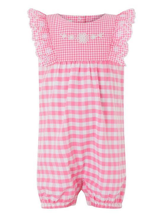 5b1faf14e Monsoon Newborn Baby Girls Gracie Gingham Romper Suit - Pink | very ...