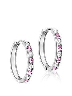 the-love-silver-collection-sterling-silver-pink-white-cubic-zirconia-channel-set-hoop-earrings