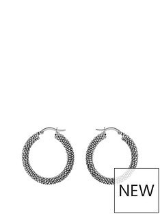 the-love-silver-collection-sterling-silver-sparkle-texture-creole-hoop-earrings
