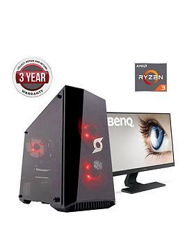 zoostorm-stormforce-onyx-amd-ryzen-3-processor-geforce-gtx-1050ti-4gb-graphics-8gb-ram-1tb-hdd-120gb-ssd-gaming-pc-with-238-inch-benq-full-hd-monitor