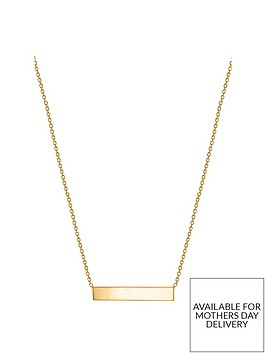 the-love-silver-collection-personalised-gold-plated-sterling-silver-17in-horizontal-bar-pendant-necklace