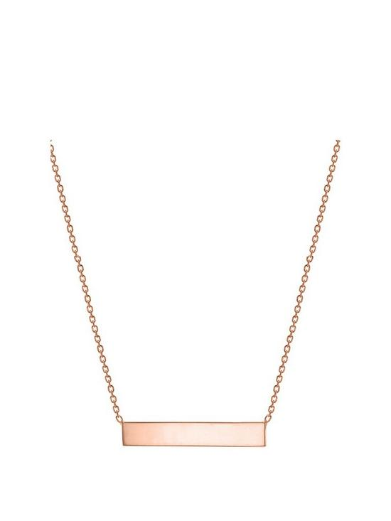 51db9b2bb9b37 Personalised Rose Gold Plated Sterling Silver 17in Horizontal Bar Pendant  Necklace