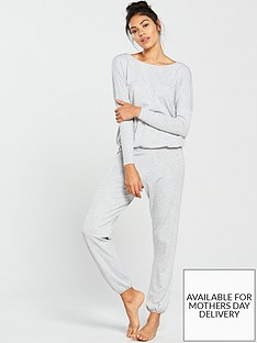 3818218d5b V by Very Long Sleeve Slouchy Jersey Lounge Set - Grey Marl