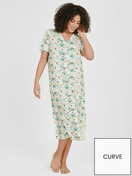 evans-aqua-floral-longline-nightdress