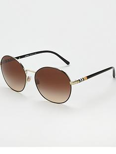 dfa94f8f00c3 Burberry Gold tan Round Sunglasses