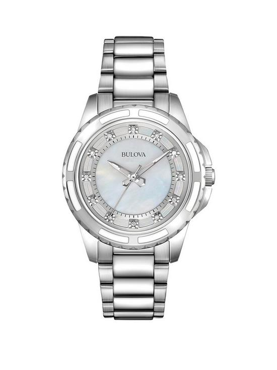 80492132e7cfa Bulova Blue Mother of Pearl Crystal Set Dial Stainless Steel Bracelet  Ladies Watch