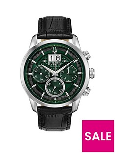 bulova-bulova-sutton-green-chronograph-dial-black-leather-strap-mens-watch
