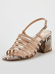 2cc68fcb2 V by Very Georgia Strappy Mid Block Heel Sandals - Nude