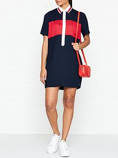 tommy-hilfiger-frances-pleated-short-sleeve-dress-navy