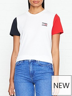 86cfe373 Tommy Hilfiger Talita Colourblock Short Sleeve T-Shirt - White