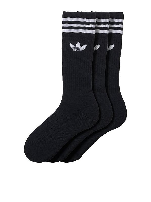 unir De nada ejemplo  adidas Originals 3 Pack of Solid Crew Socks - Black | very.co.uk