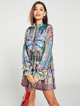 skeena-s-printed-babydollnbsphigh-neck-rufflednbspplisse-dress-multi
