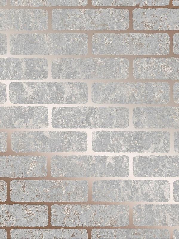 Milan Brick Wallpaper Rose Gold
