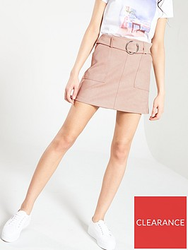 v-by-very-faux-suede-belted-mini-skirt-pink