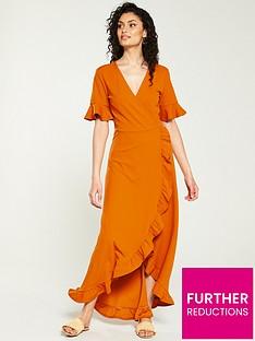v-by-very-ruffle-wrap-front-maxi-dress-orange