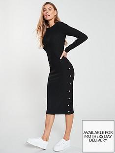v-by-very-midi-ribbed-button-dress-black