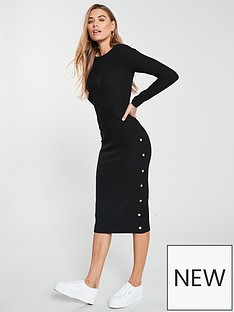 189e311336 V by Very Midi Ribbed Button Dress - Black