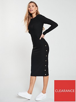 v-by-very-midi-ribbed-button-dress-black