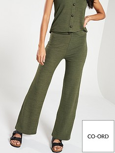 1286816c4f888 V by Very Soft Knit Flare Co-ord Pants - Khaki